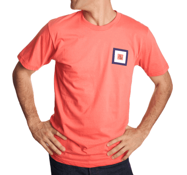 Whiskey Flag Tee Shirt in Coral by Anchored Style - FINAL SALE