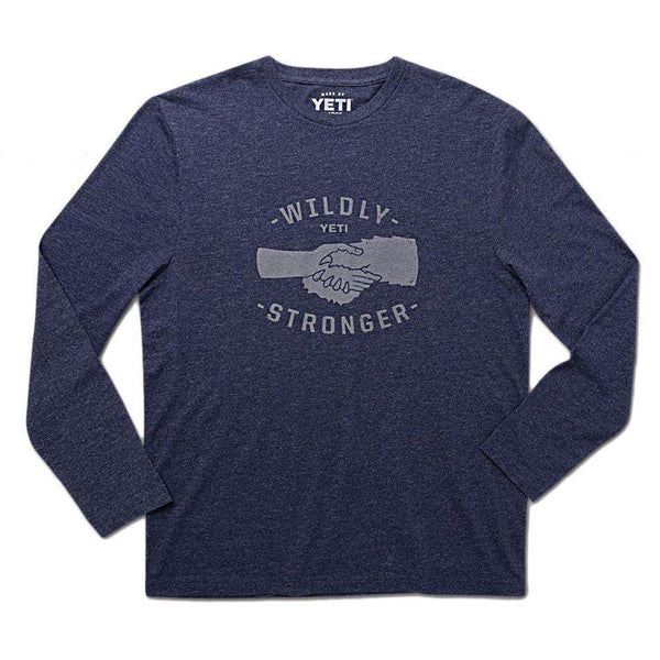 Men's Tee Shirts - Wildly Stronger Handshake Long Sleeve Tee In Heather Navy By YETI