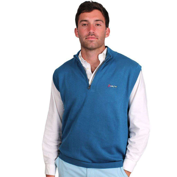 Men's Vests - 1/4 Zip Sweater Vest In Tidal Blue By Country Club Prep - FINAL SALE