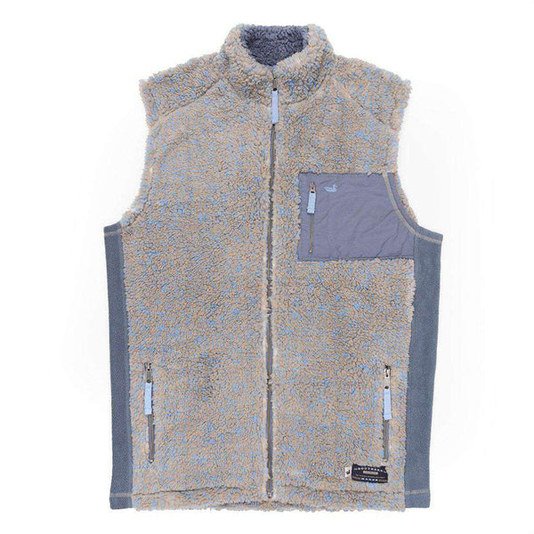 Men's Vests - Blue Ridge Sherpa Vest In Brown And French Blue By Southern Marsh - FINAL SALE