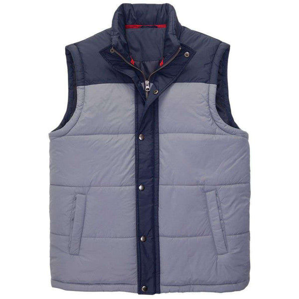 Men's Vests - Campground Vest In Grisaille Grey & Navy By Southern Proper - FINAL SALE