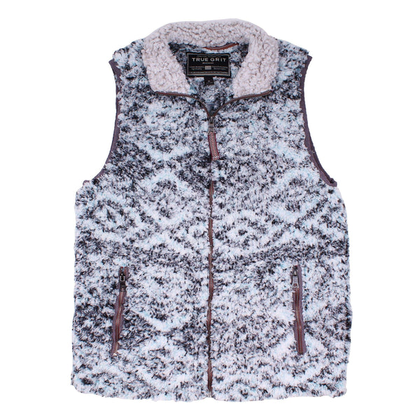 Men's Vests - Frosty Tipped Double Up Tribal Vest In Aqua By True Grit