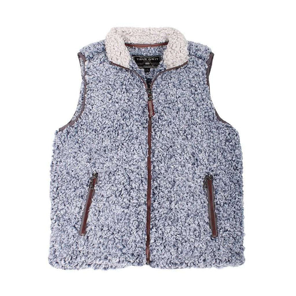 Men's Vests - Frosty Tipped Double Up Vest In Vintage Blue By True Grit