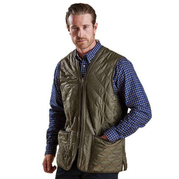 Men's Vests - Polarquilt Waistcoat Zip-in Liner In Olive By Barbour