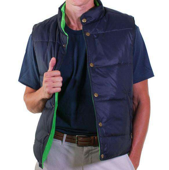 Men's Vests - Reversible Vest In Navy And Evergreen By Castaway Clothing - FINAL SALE