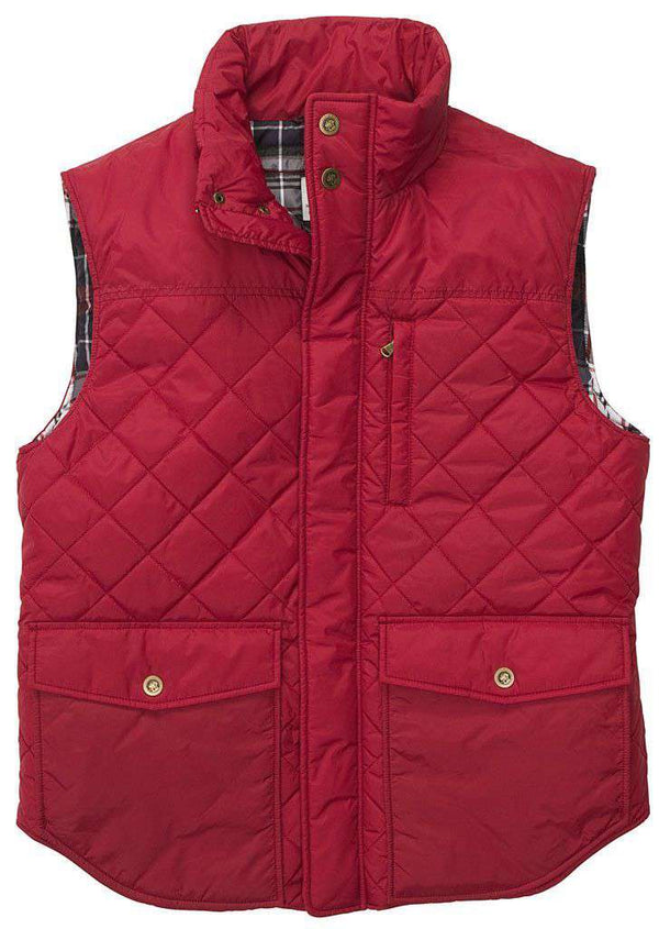 Men's Vests - Varsity Vest In Red By Southern Proper - FINAL SALE