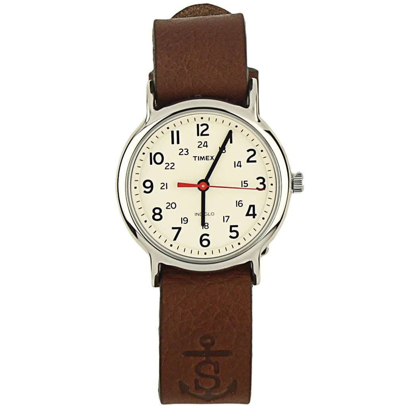 Men's Watches - Sounder Timex Field Watch In Silver With Chestnut Band By Sounder Goods