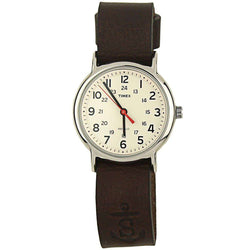 Men's Watches - Sounder Timex Field Watch In Silver With Chocolate Band By Sounder Goods