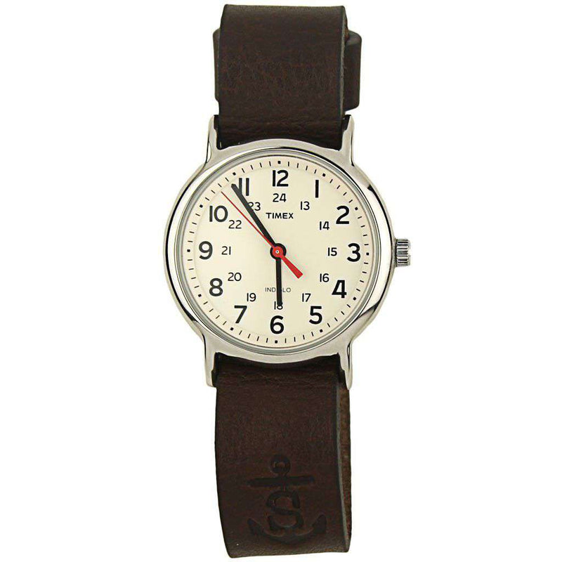 Sounder Timex Field Watch in Silver with Chocolate Band by Sounder Goods