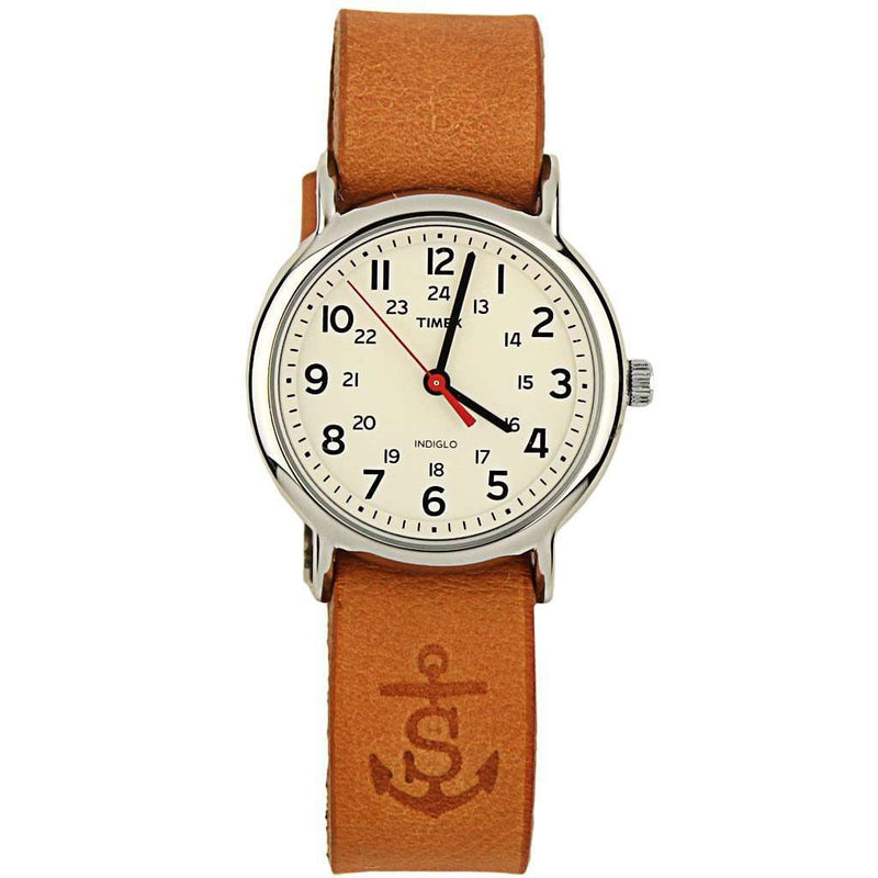 Sounder Timex Field Watch in Silver with Tan Band by Sounder Goods