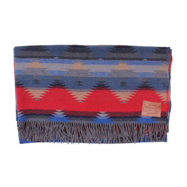 Mesa Fringe Blanket in Blue by True Grit - FINAL SALE