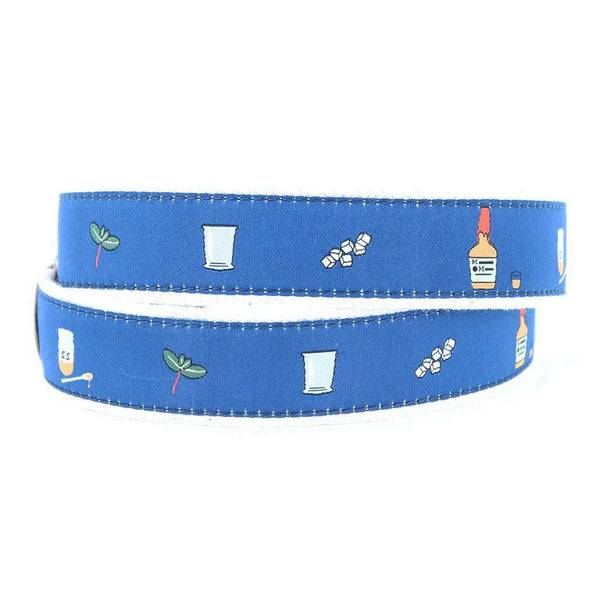 Mint Julep Leather Tab Belt in Blue by Country Club Prep