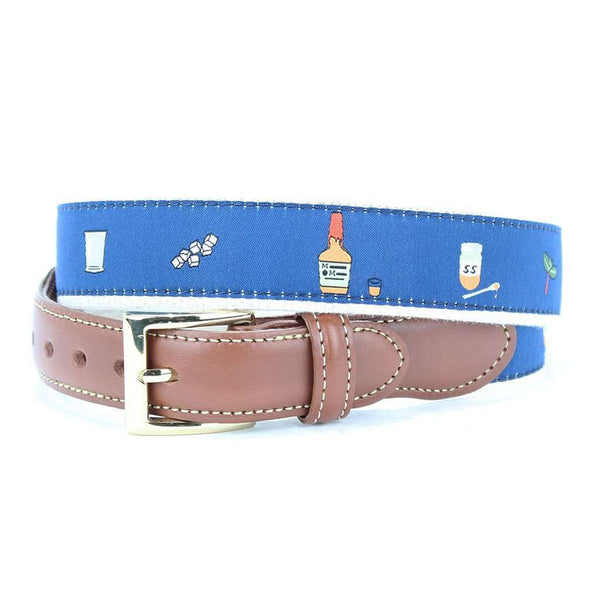 Mint Julep Leather Tab Belt in Blue by Country Club Prep  - 1