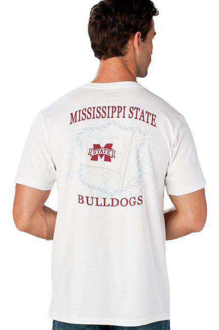 Mississippi State University Flag Tee Shirt in White by Southern Tide  - 1