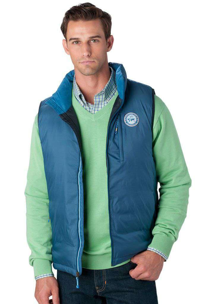 Charlottesville Down Vest in Trust Fund Blue by Southern Tide
