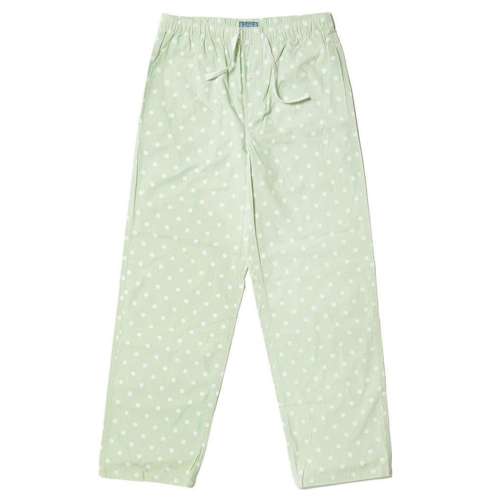 Lounge Pants in Seafoam Green with White Dots by Castaway Clothing