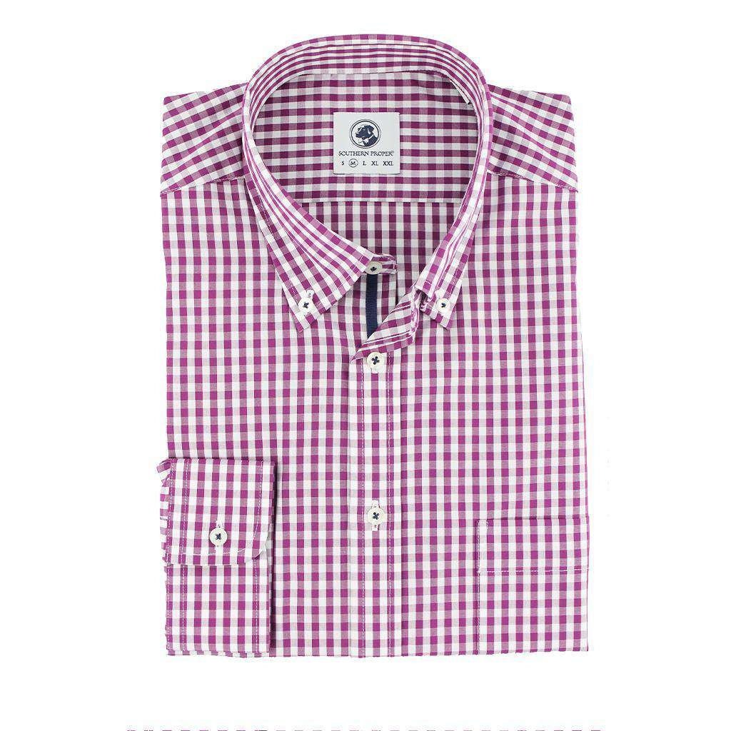 Goal Line Shirt in Purple Gingham by Southern Proper  - 1
