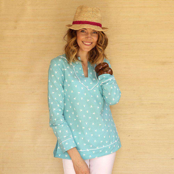 Audrey Tunic in Blue with Palm Trees by Kayce Hughes