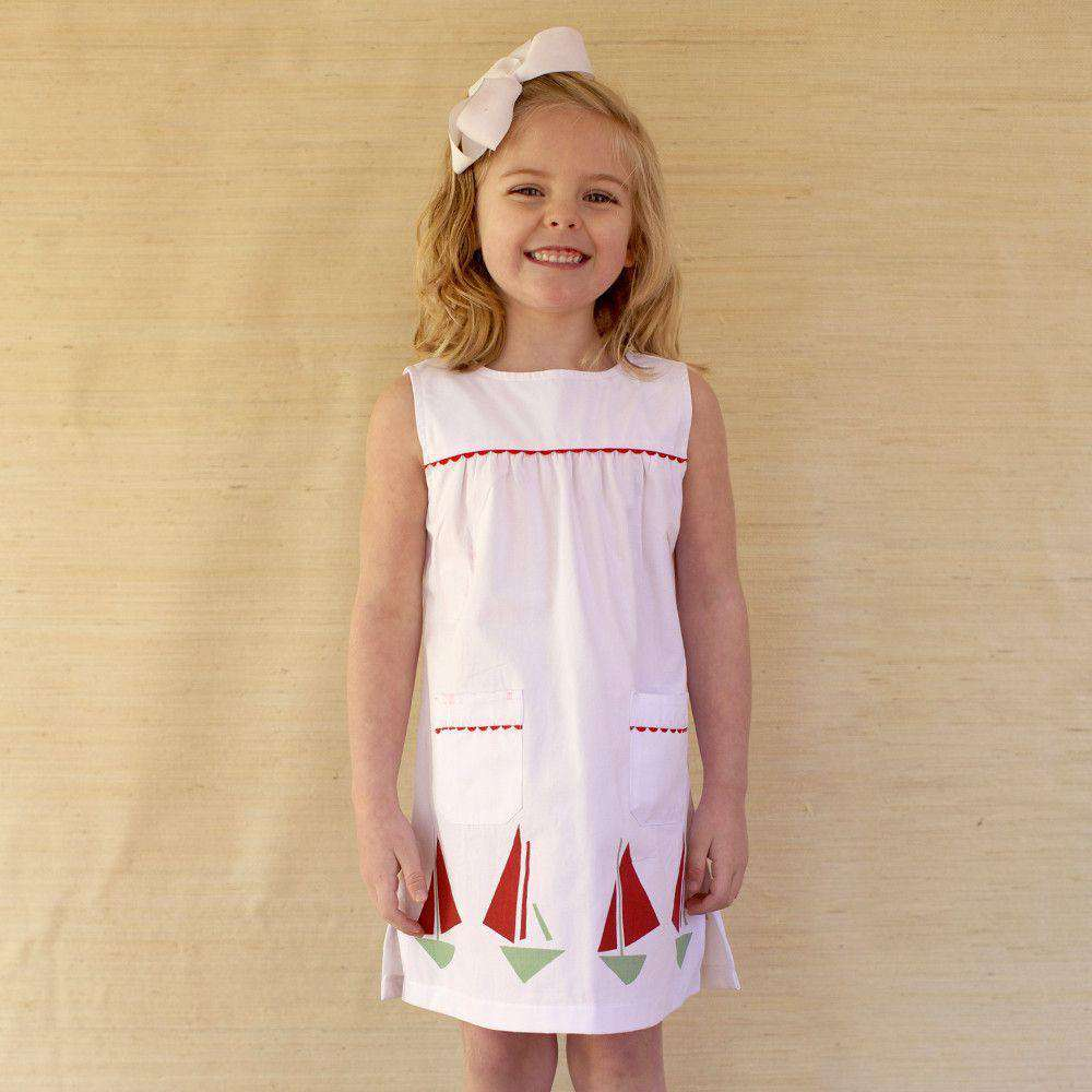 Girl's Julie Shift Dress in White Canvas by Kayce Hughes  - 1