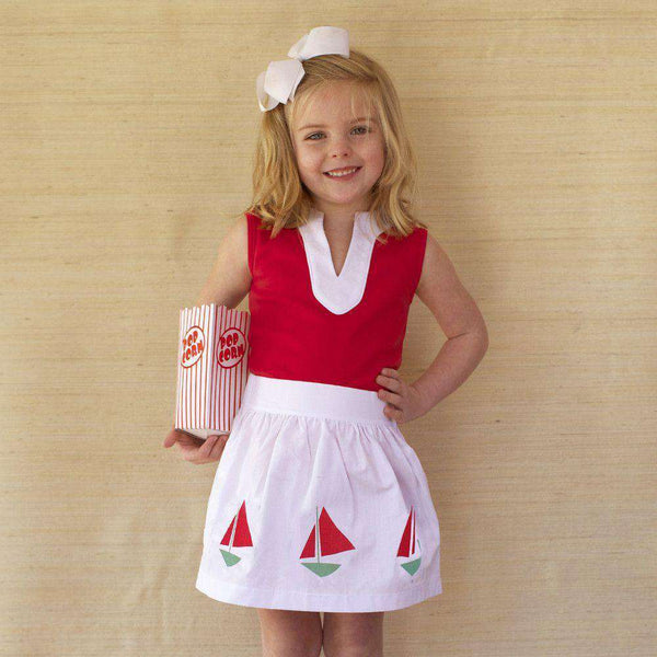 Girl's Party Skirt in White Canvas by Kayce Hughes  - 1