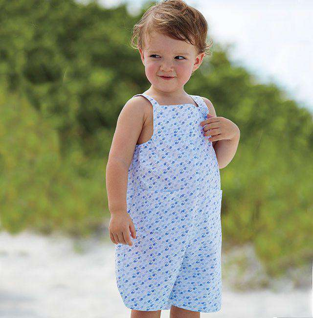 Blue Whale Boy Romper in Blue and White by Bella Bliss  - 1