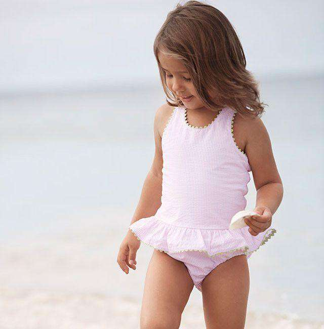 Skirted One Piece in Pink with Green Trim by Bella Bliss  - 2