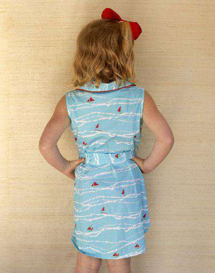 Girl's Ali Scott Dress in Turquoise Sailboat by Kayce Hughes  - 3