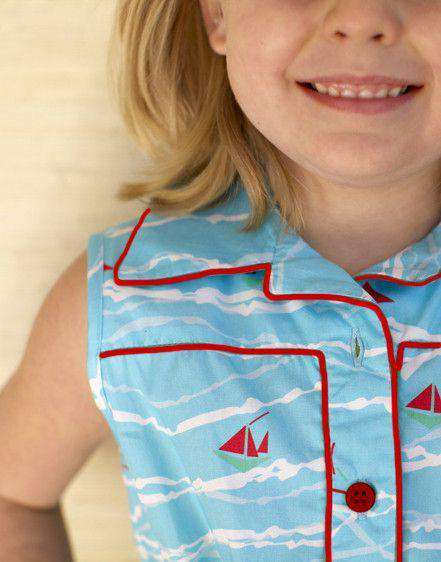 Girl's Ali Scott Dress in Turquoise Sailboat by Kayce Hughes  - 2