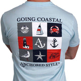 Going Coastal Tee in Light Blue by Anchored Style  - 2