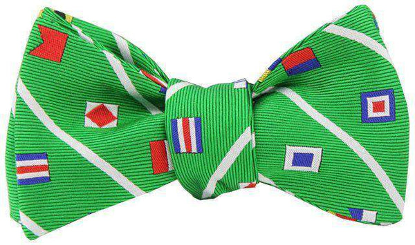 Nautical Signal Flag Bow Tie in Kelly Green by Anchored Style - FINAL SALE