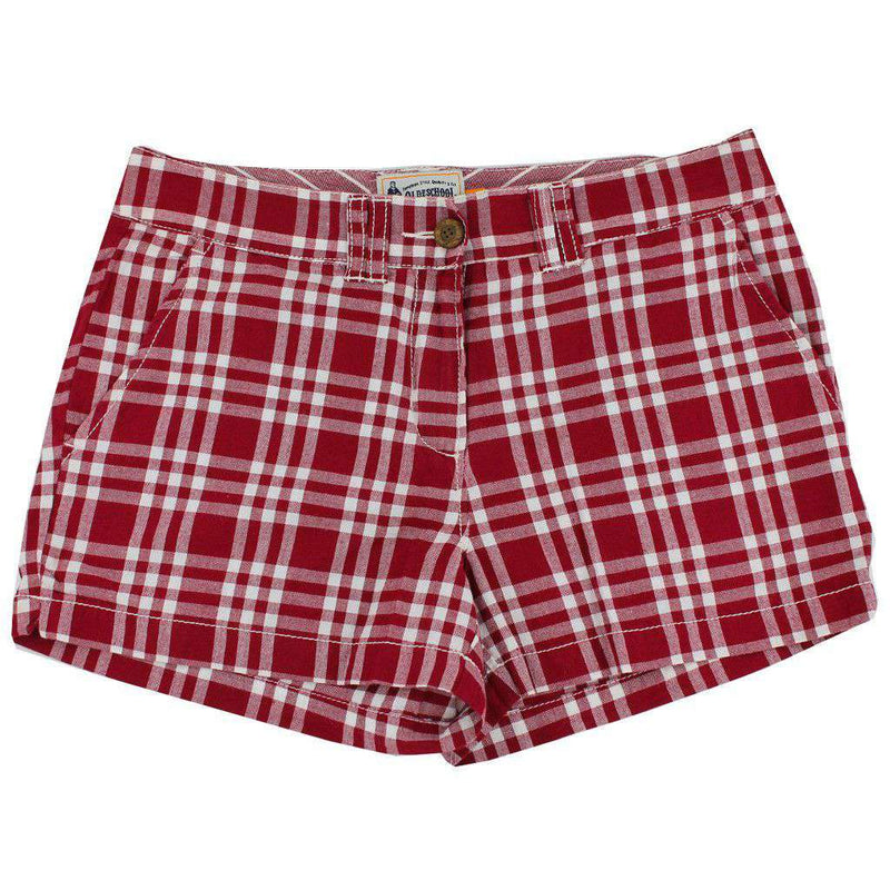 Women's Shorts in White and Maroon Madras by Olde School Brand  - 1