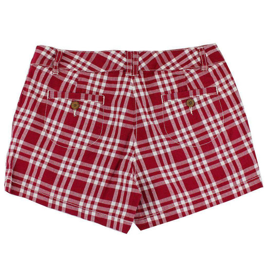 Women's Shorts in White and Maroon Madras by Olde School Brand  - 2