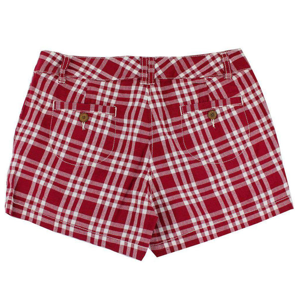 Women's Shorts in White and Maroon Madras by Olde School Brand - FINAL SALE