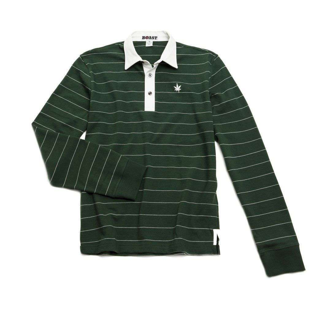 Heavy Jersey Long Sleeve Polo in Moss Green with Ivory Stripes by Boast