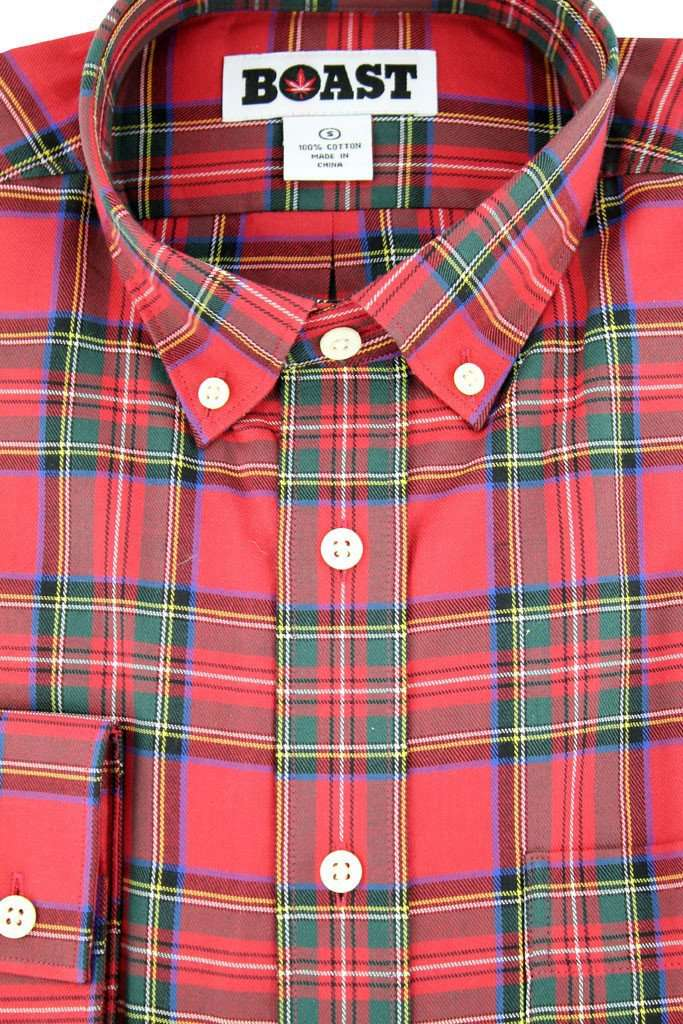 Plaid Button Down Shirt in Traditional Red by Boast  - 3
