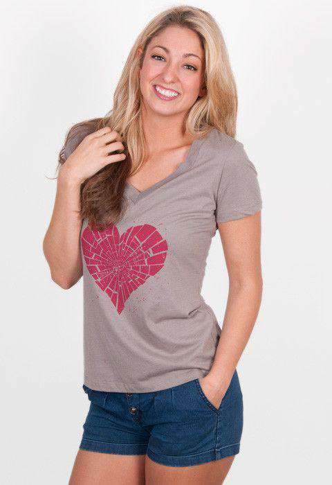 Heartbreaker V-Neck Tee in Grey by Rowdy Gentleman  - 1