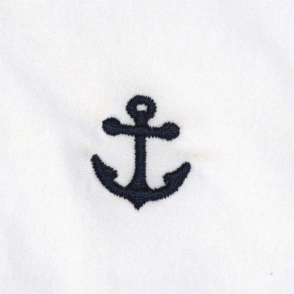 Embroidered Harbor Pants in White with Navy Anchors by Castaway Clothing  - 1