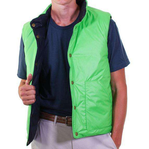 Reversible Vest in Navy and Evergreen by Castaway Clothing  - 4