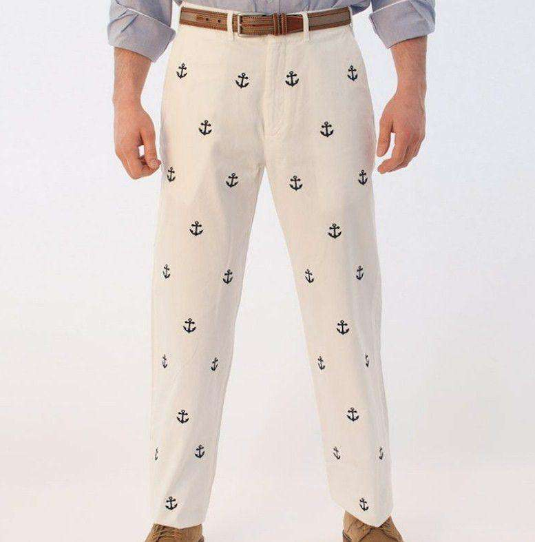 Embroidered Harbor Pants in White with Navy Anchors by Castaway Clothing  - 3