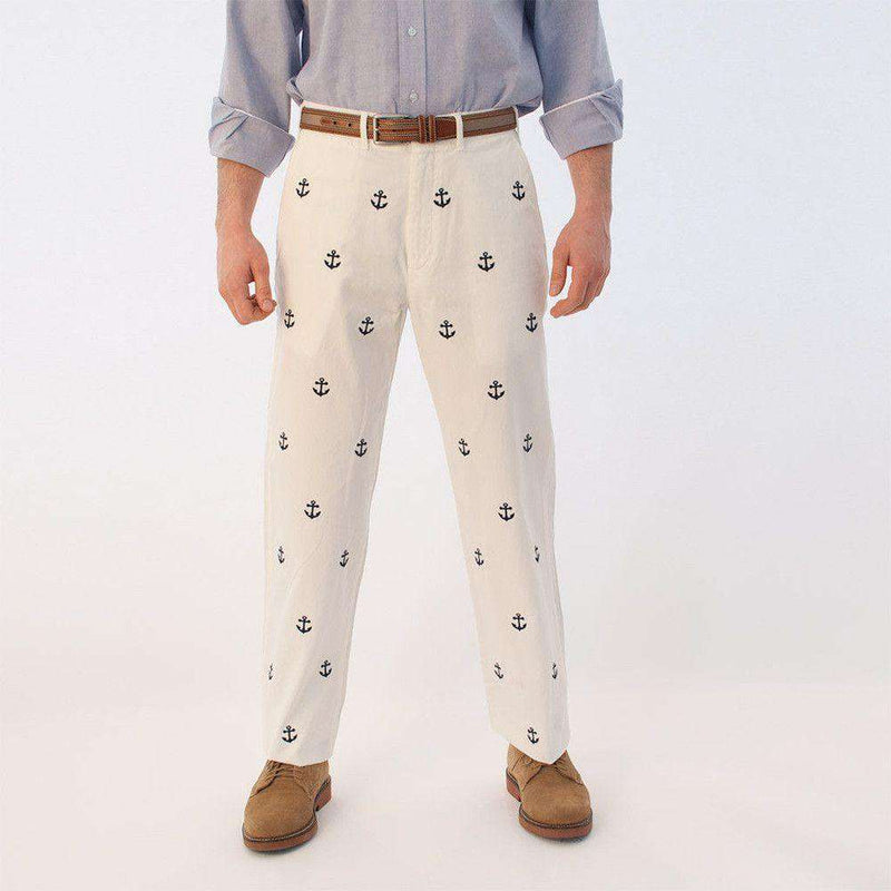 Embroidered Harbor Pants in White with Navy Anchors by Castaway Clothing  - 2