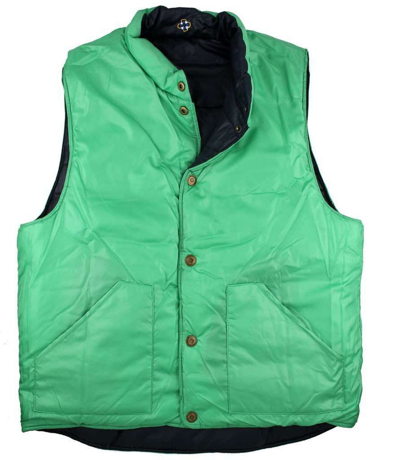 Reversible Vest in Navy and Evergreen by Castaway Clothing  - 2