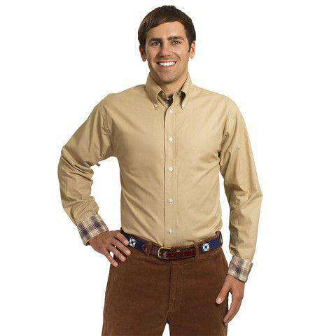 Straight Wharf Button Down in Chino Khaki With Harvest Plaid Trim by Castaway Clothing  - 1