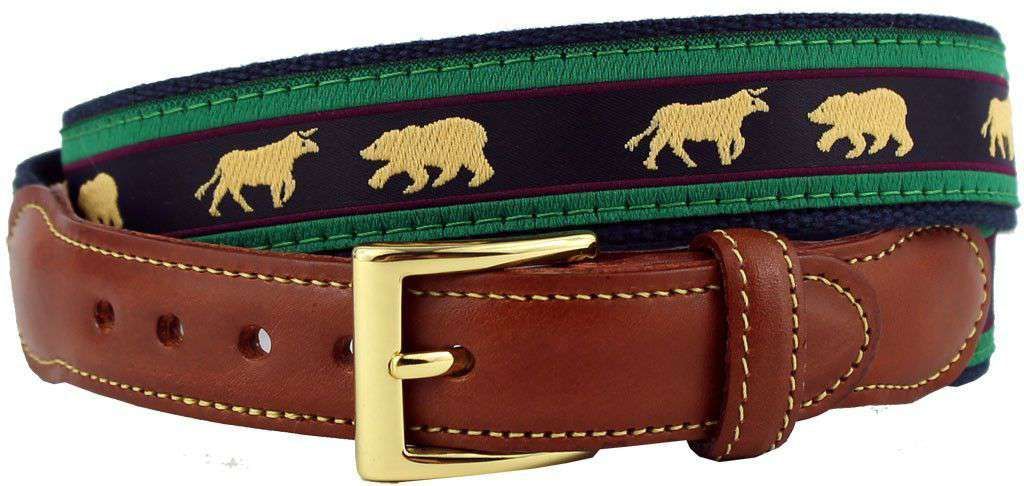 Stock Market Bull and Bear Leather Tab Belt in Hunter Green and Navy on Navy Canvas by Country Club Prep  - 1