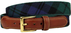 Black Watch Tartan Plaid Belt on Green Canvas by Country Club Prep