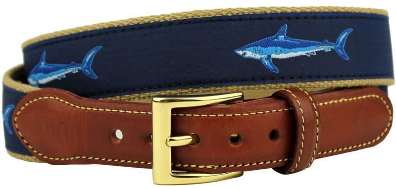 Machiavellian Mako Shark Leather Tab Belt in Navy by Country Club Prep
