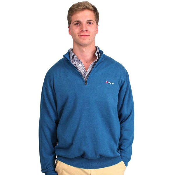 Cotton 1/4 Zip Sweater in Tide Blue by Country Club Prep  - 1