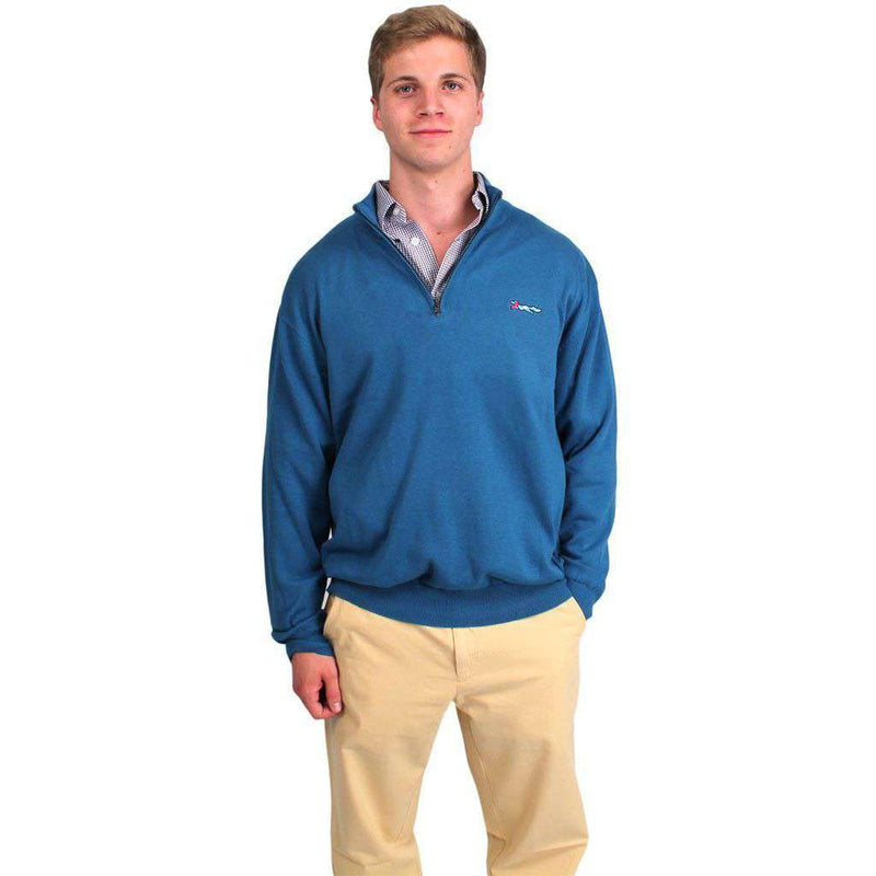 Cotton 1/4 Zip Sweater in Tide Blue by Country Club Prep  - 2