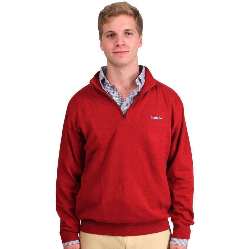 Cotton 1/4 Zip Sweater in Crimson by Country Club Prep  - 1