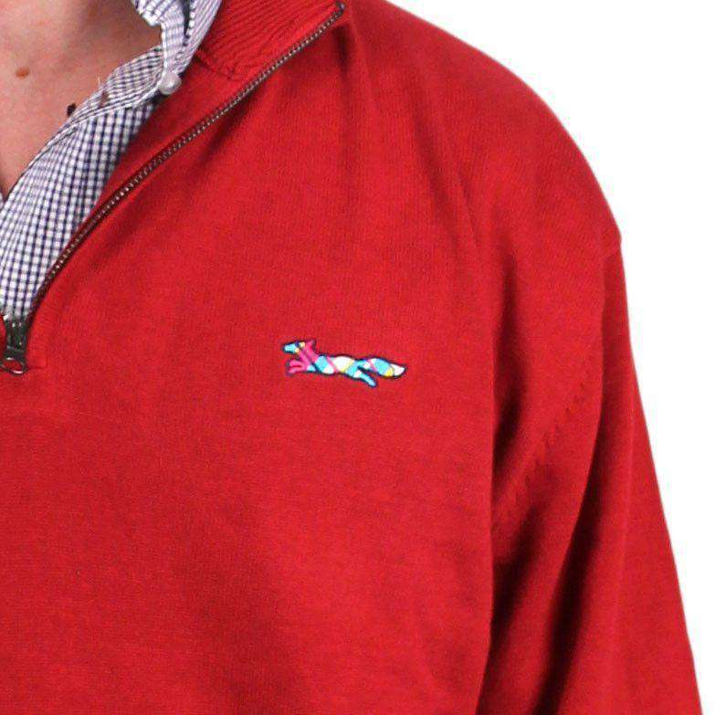 Cotton 1/4 Zip Sweater in Crimson by Country Club Prep  - 2