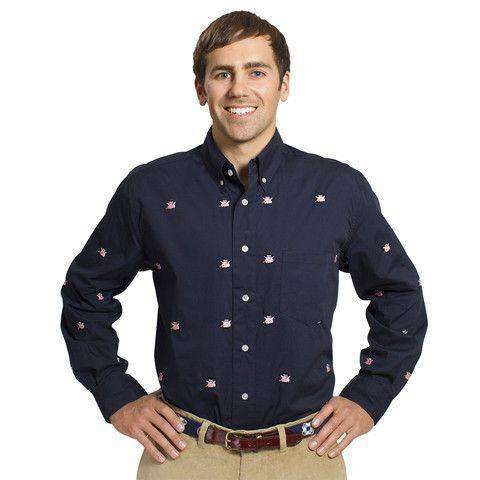 Straight Wharf Button Down in Nantucket Navy with Capitalistic Pigs by Castaway Clothing